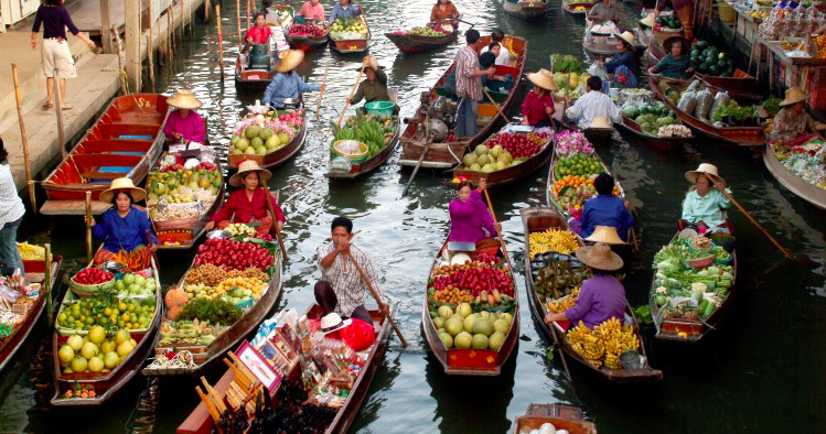 Saduak Mercado flutuante Bangkok