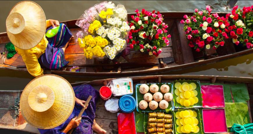 Saduak mercado flutuante bangkok tailandia