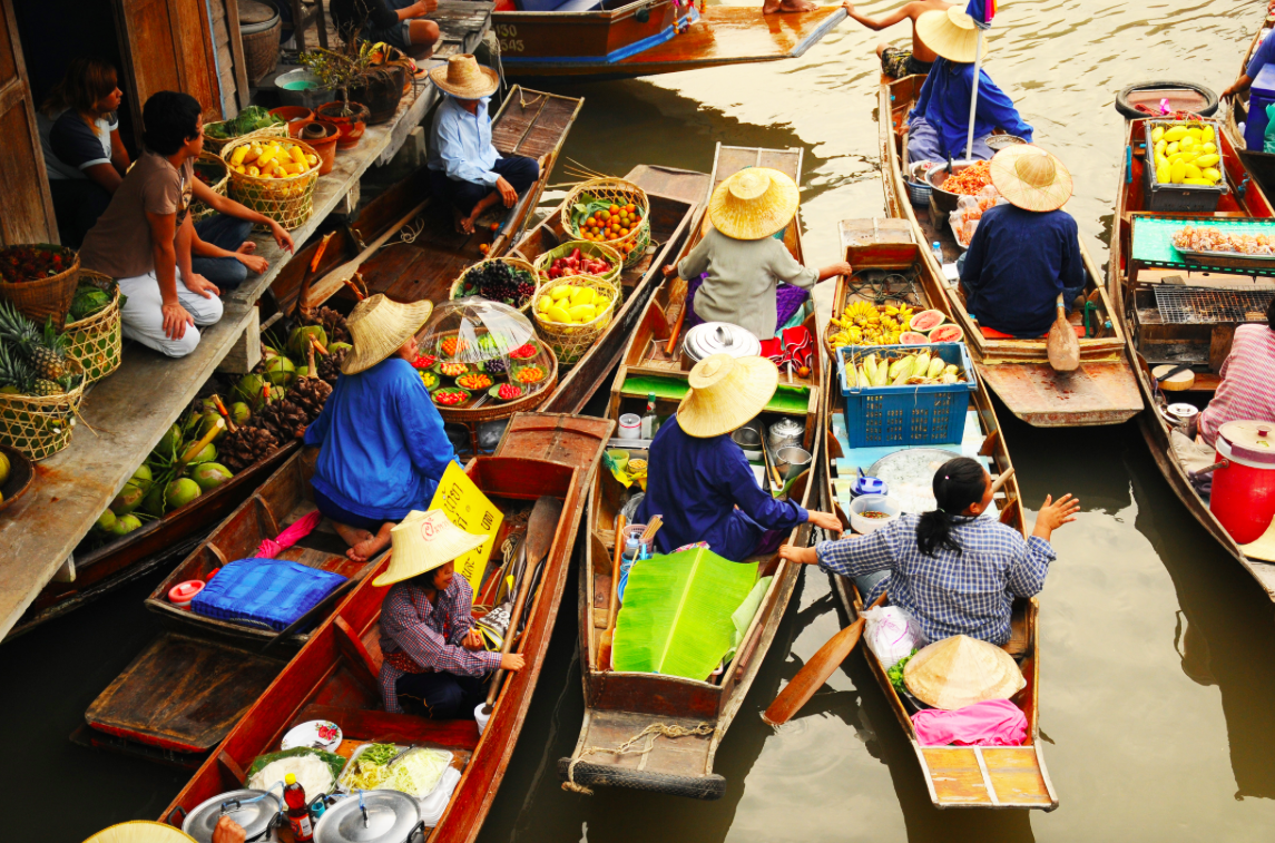 Anphawa Mercado Flutuante Bangkok Tailândia