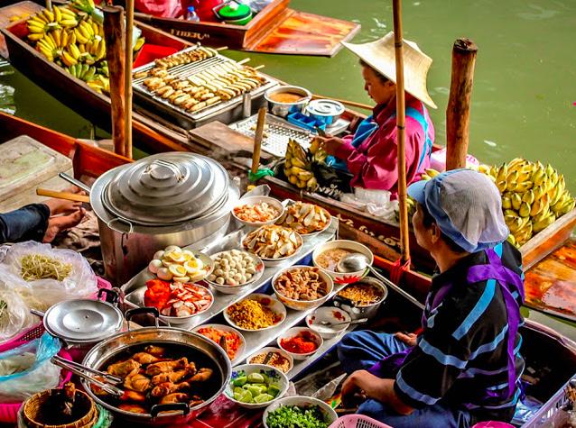 Mercado flutuante Bangkok Tailandia