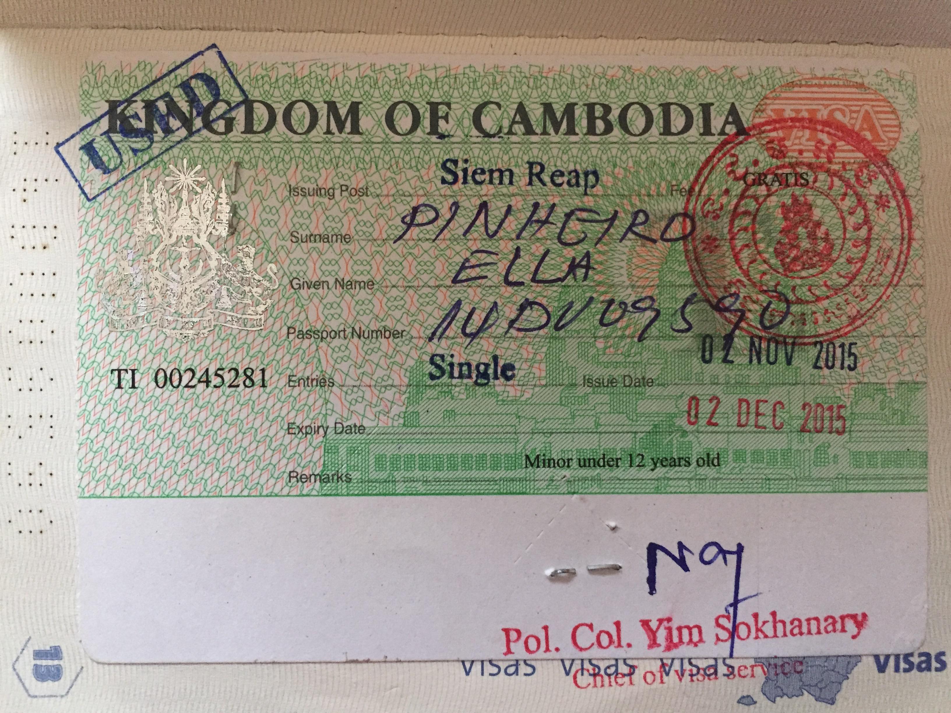 Visto Siem Reap Camboja